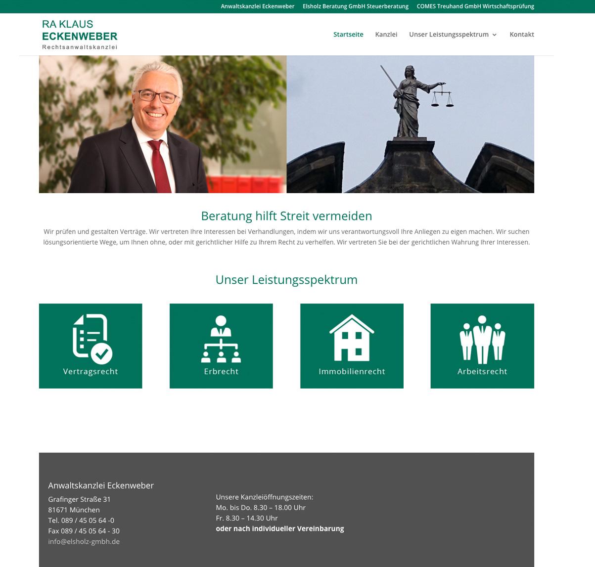 Anwalt Klaus Eckenweber auf der Kanzleiseite der Elsholz GmbH