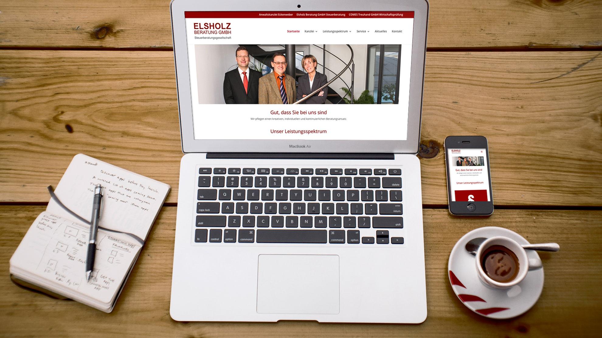 Webseite der Steuerberatung Elsholz GmbH