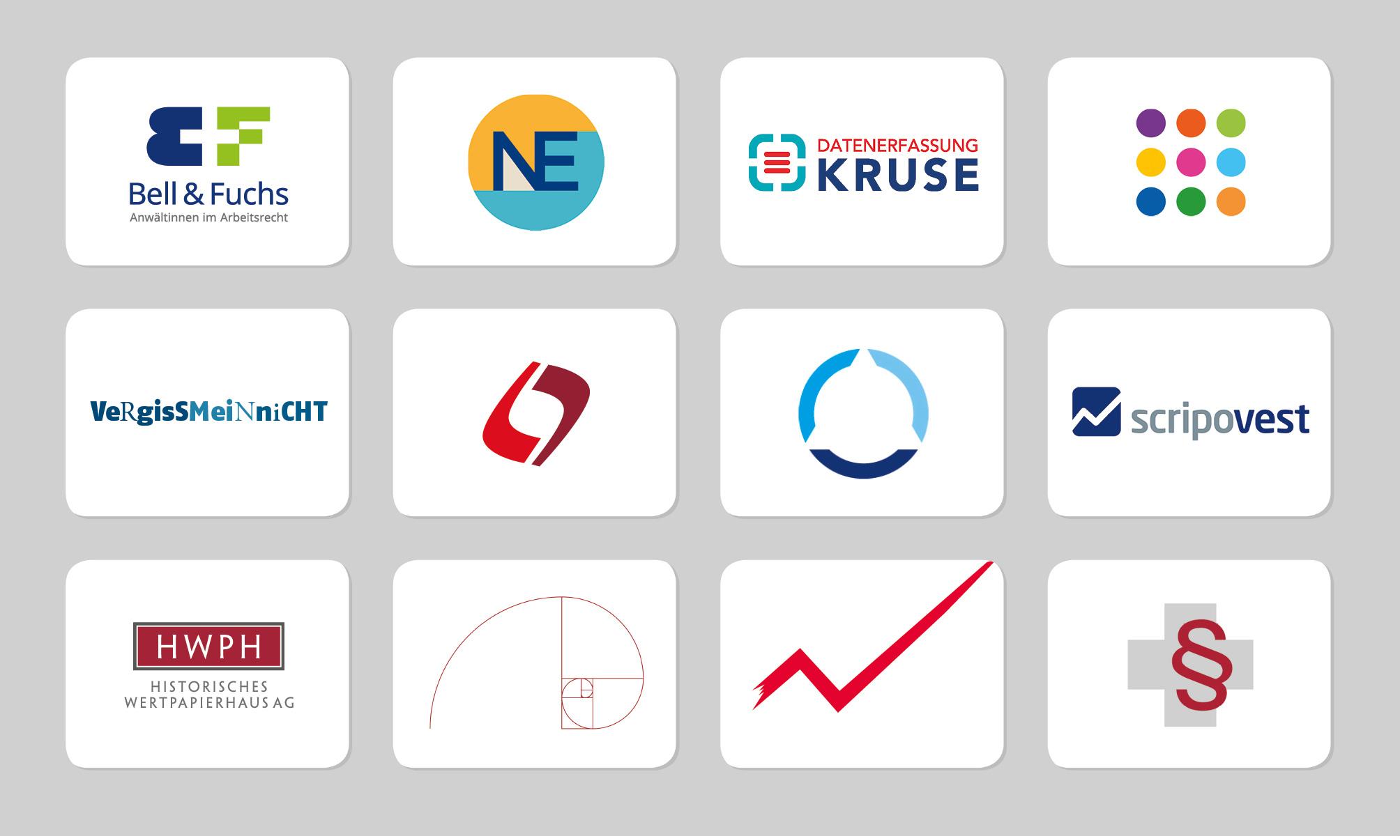 Viele Beispiel für das Logodesign von punktneun