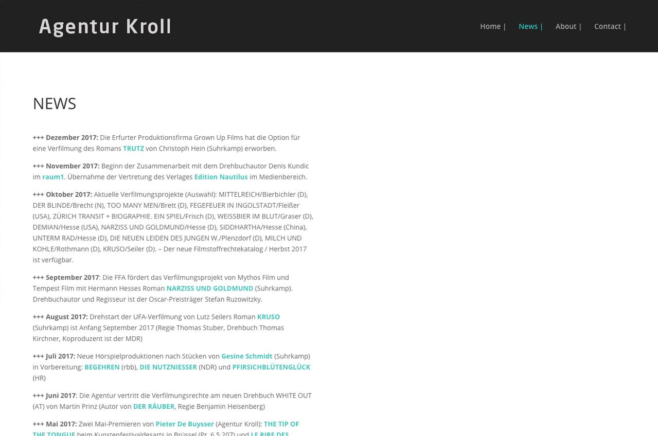 Agentur-Kroll-Newsseite