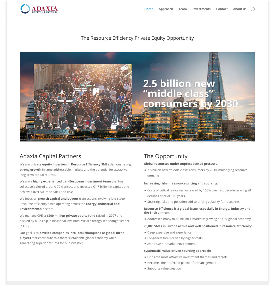 Homepage für das Webdesign Adaxia Capital Partners Private Equity Company London