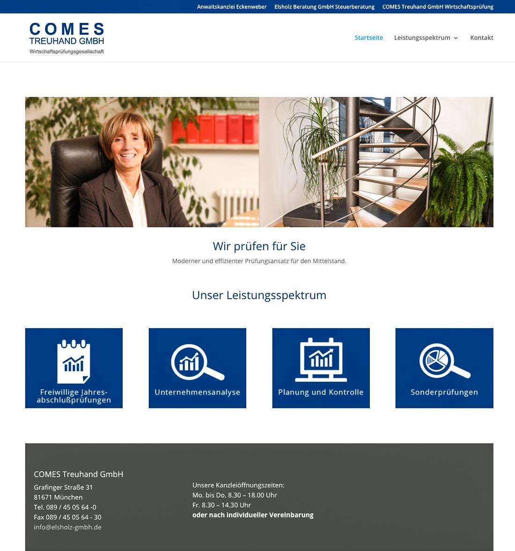 Webseite für die Comes Treuhand GmbH