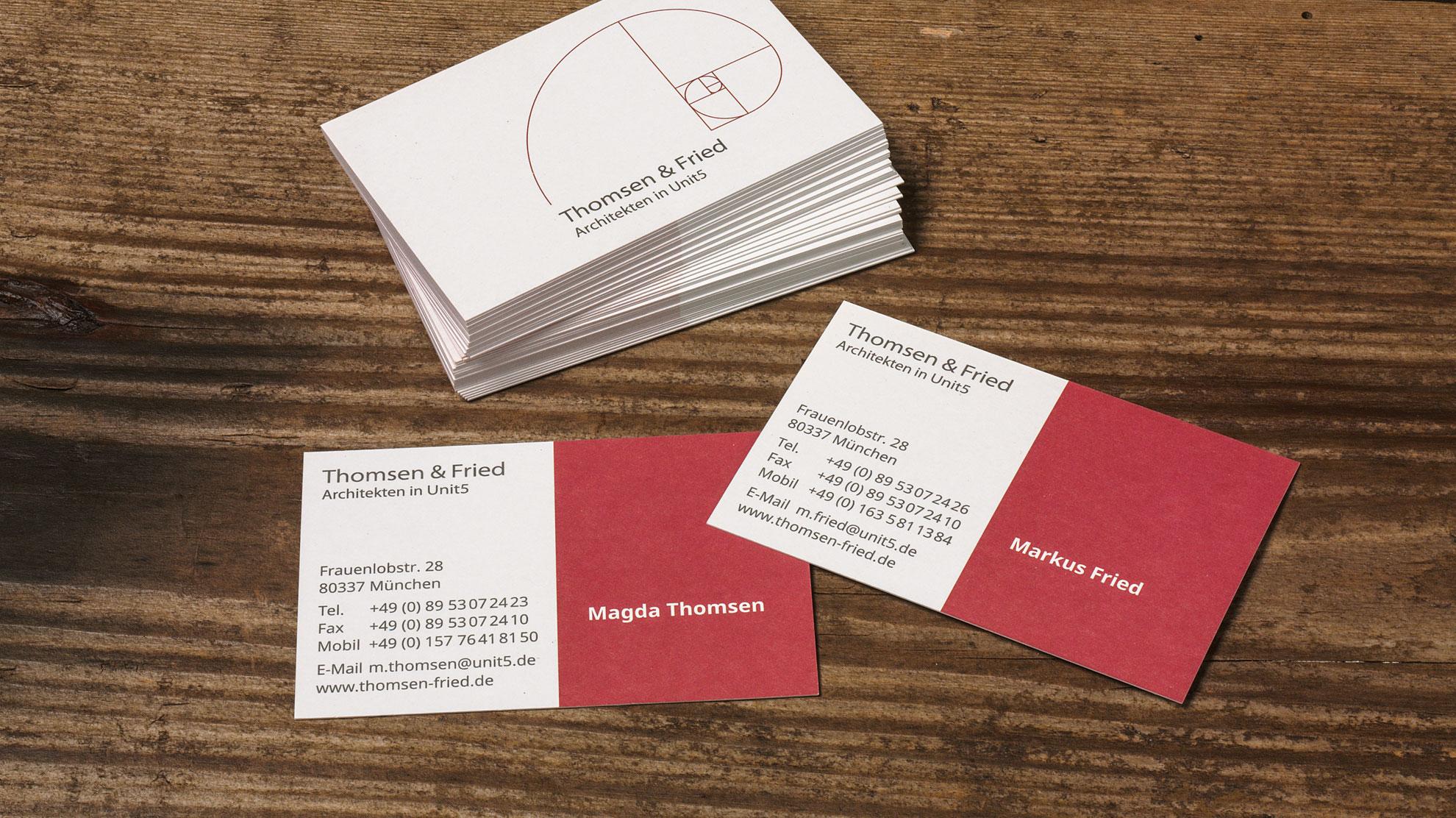 Visitenkarten Gestaltung für das Architekturbüro Thomsen und Fried