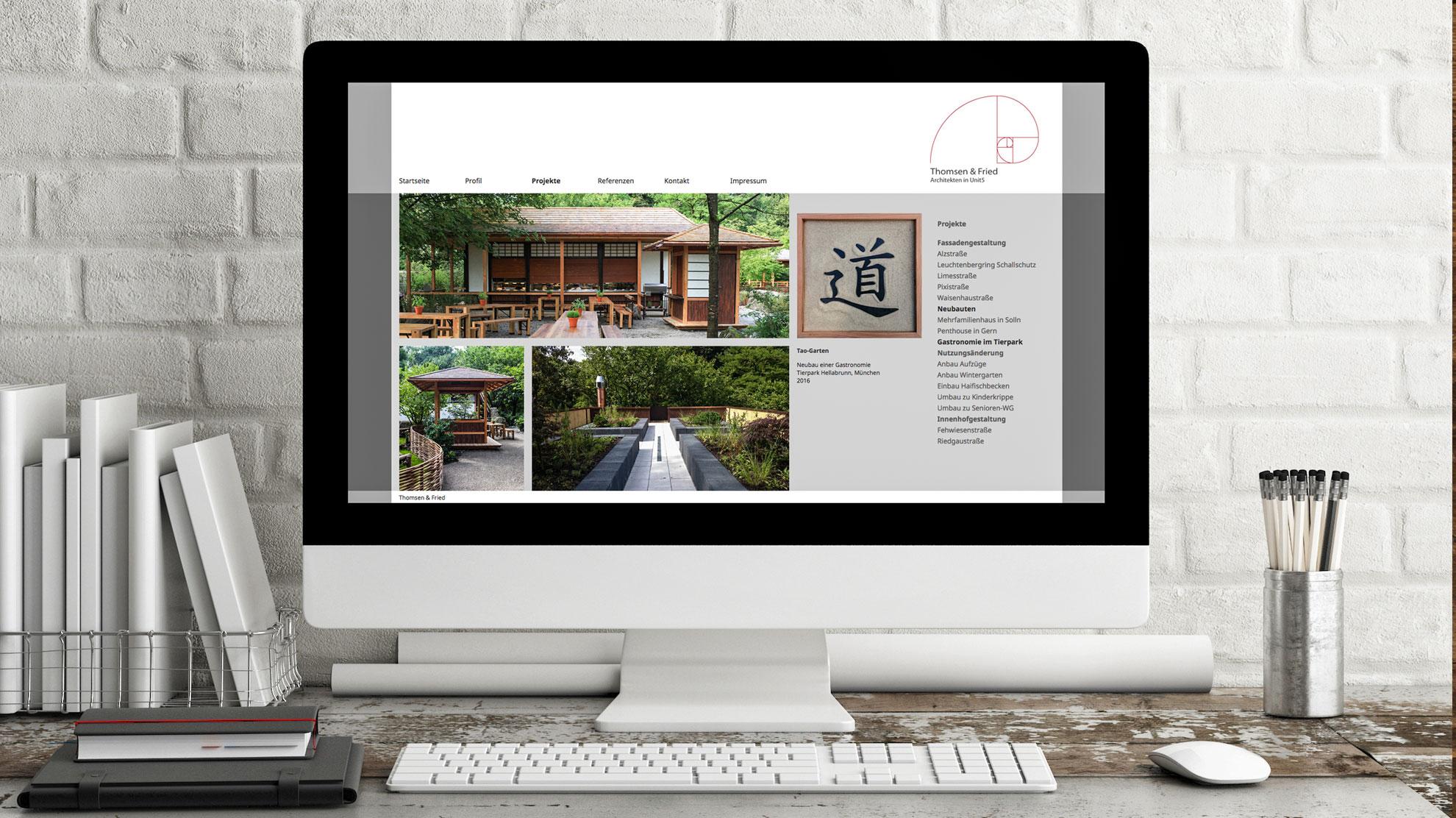Webseite für das Architekturbüro Thomsen und Fried