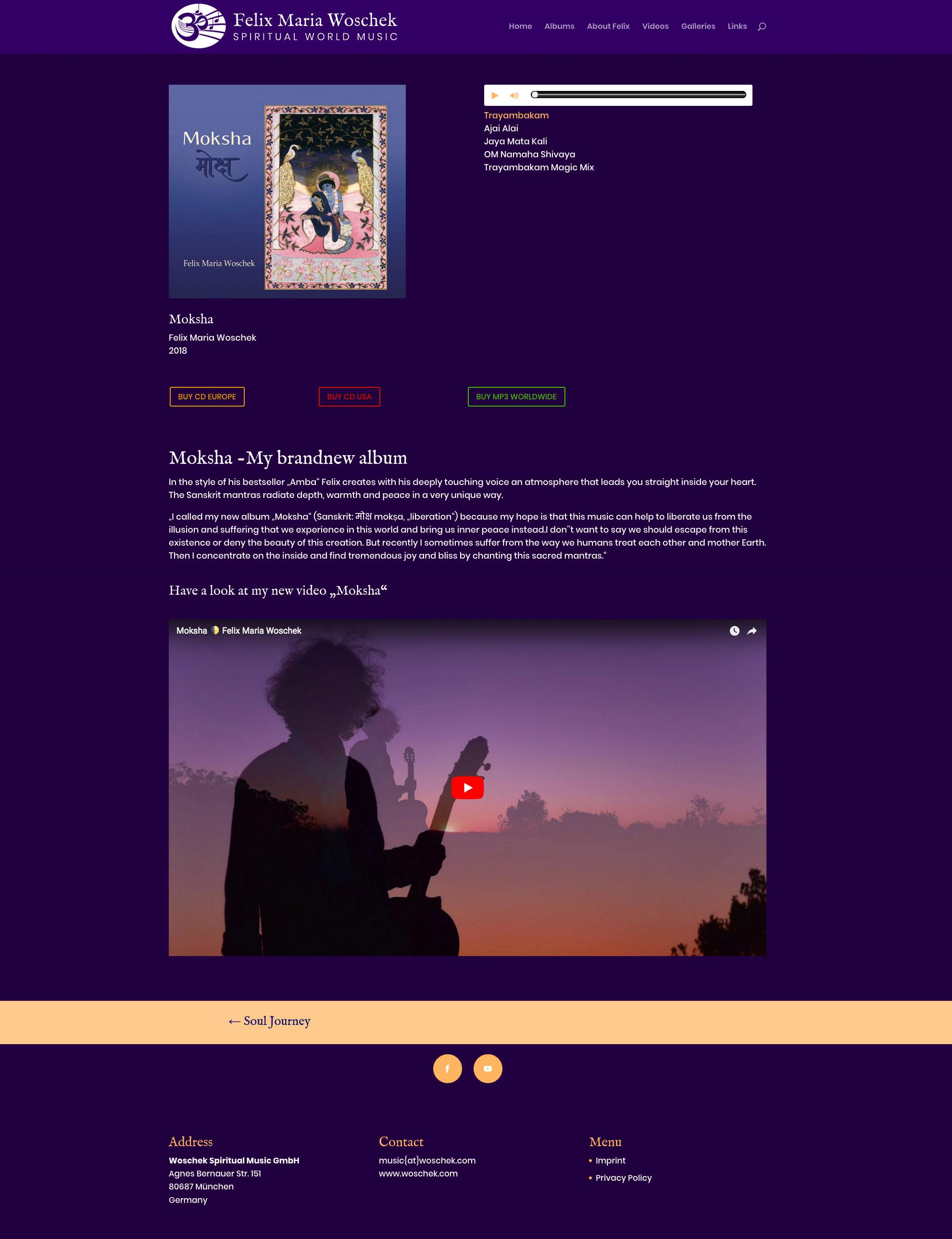 Webseite für das neue Album Moksha von Felix Maria Woschek