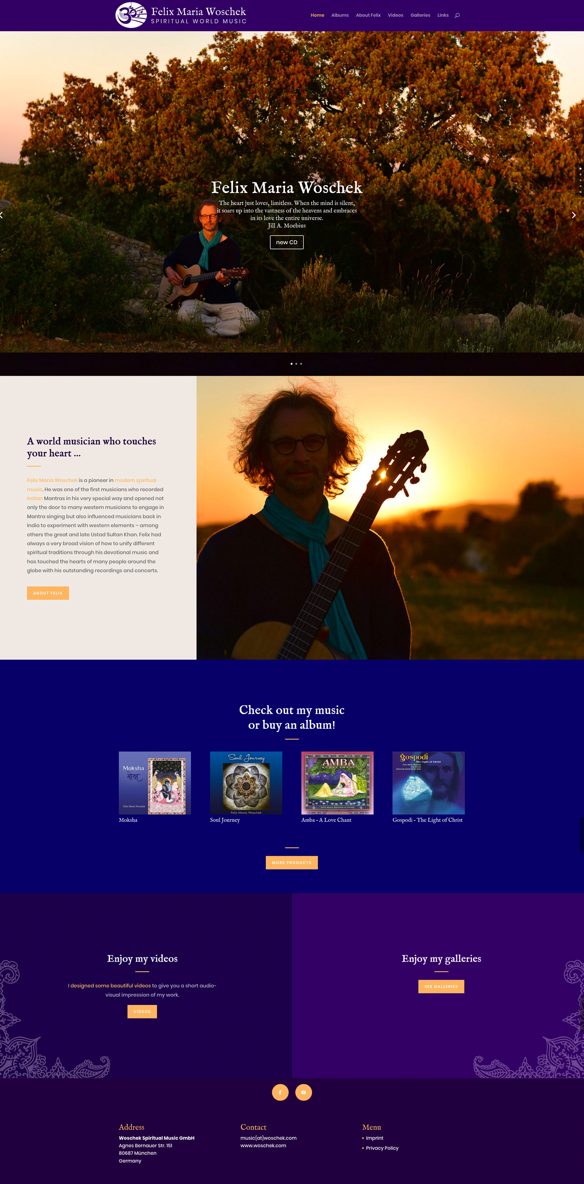 Onepager als Homepage für Musiker Felix Maria Woschek