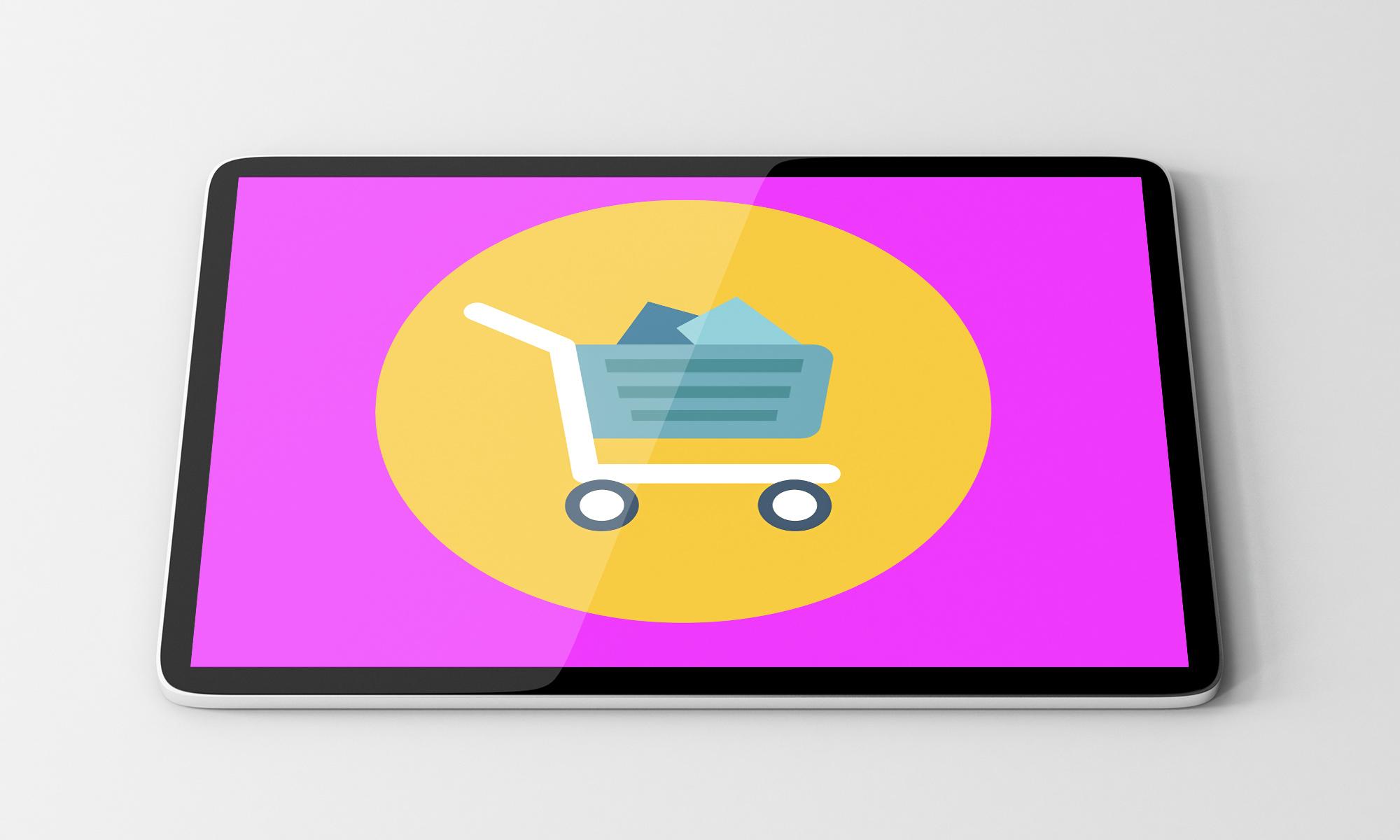 Ein Einkaufswagen repräsentiert einen Online-Shop