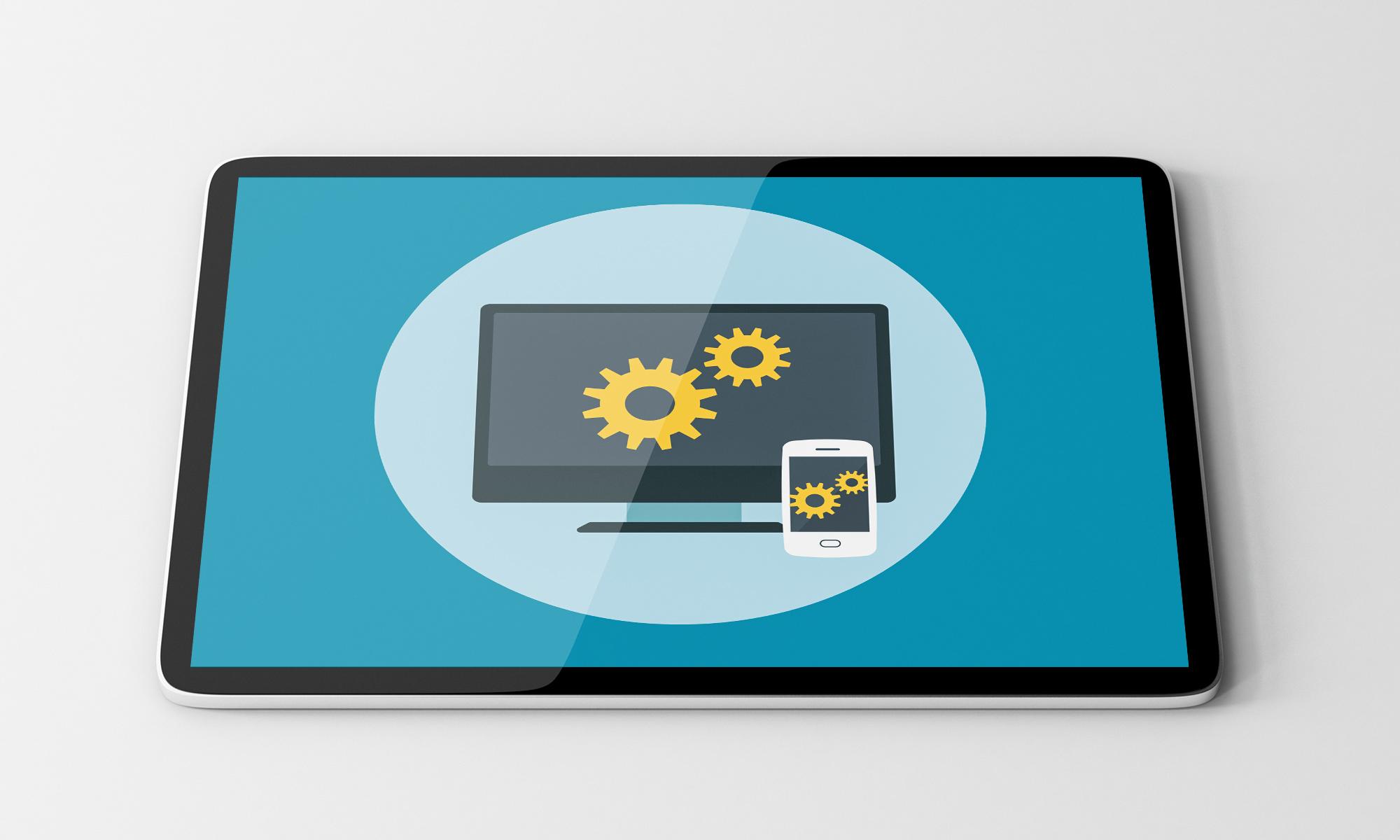 Responsive Design auf vier verschiedenen Geräten