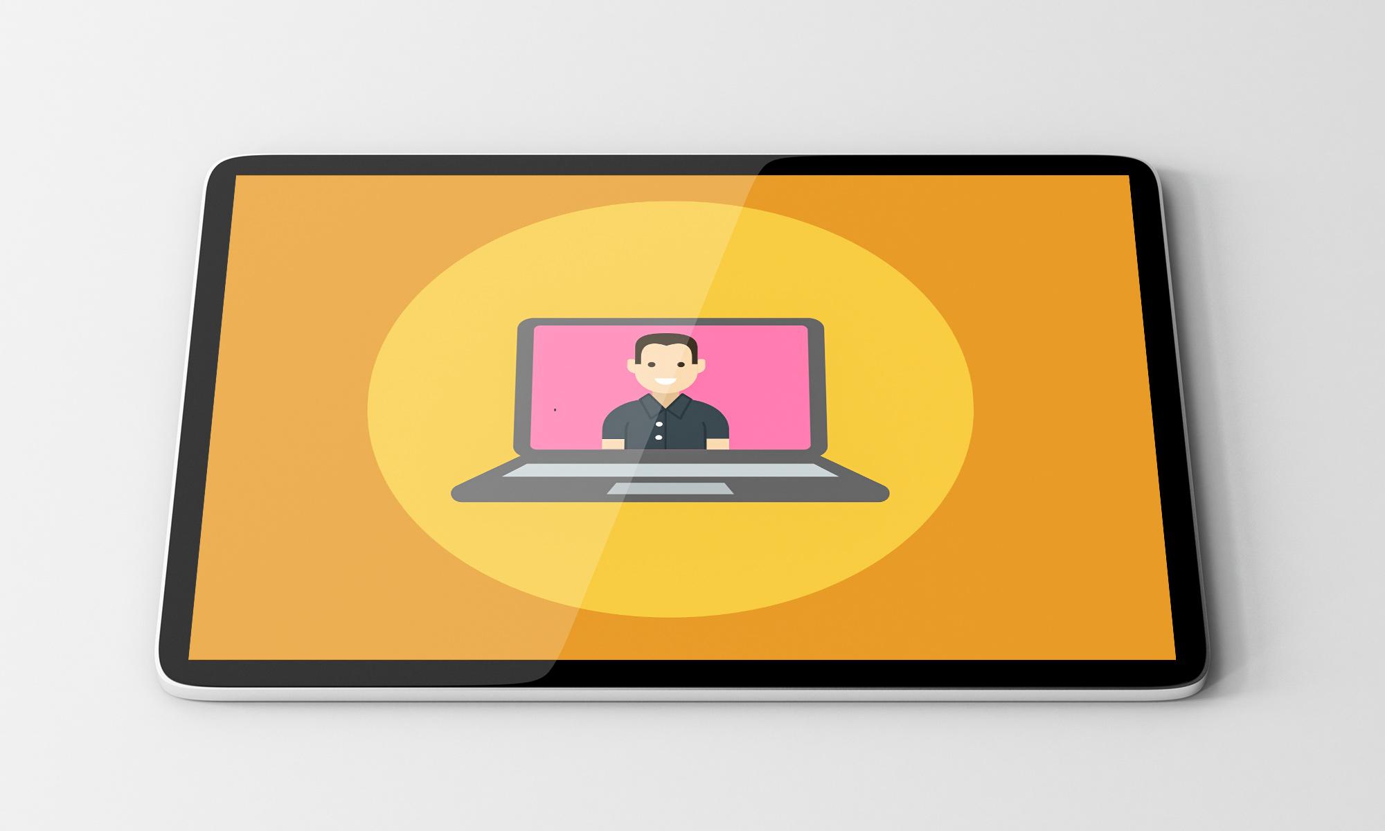 UX-Design: Ein begeisterter Kunde auf dem Bildschirm
