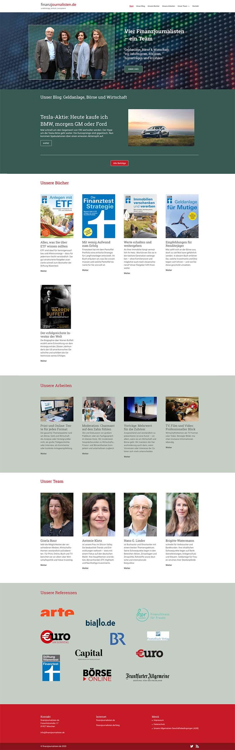 Auf der Startseite finden sich Webseite und Blog in einem