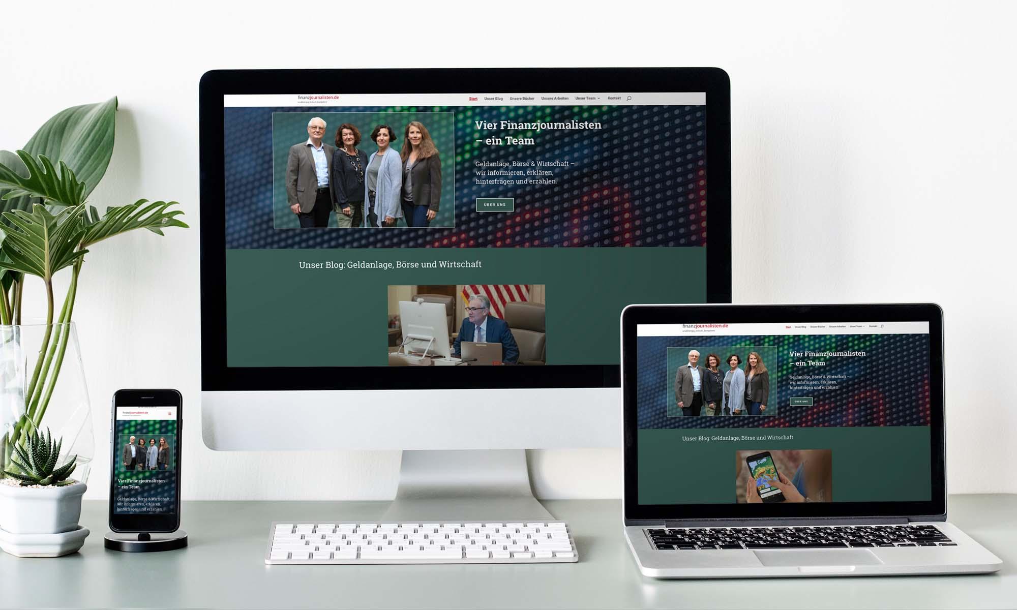 Webseite und Blog auf einer responsiven Homepage
