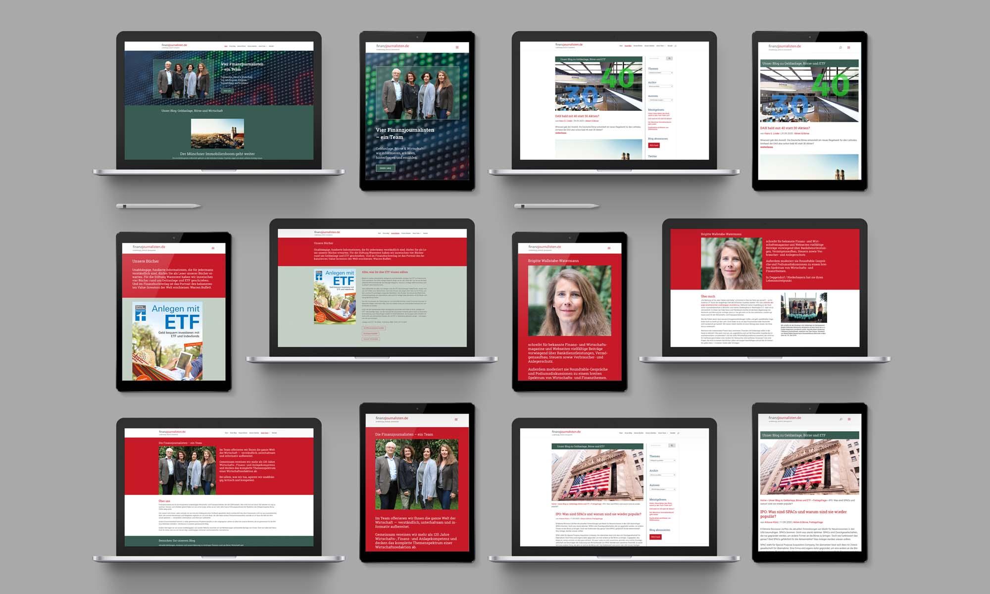Auf Tablets präsentieren die finanzjournalisten ihre Webseite und ihren Blog